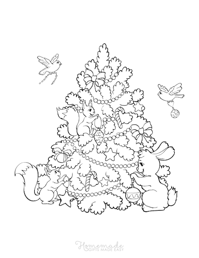 Christmas Coloring Pages Woodland Animals Decorating Tree