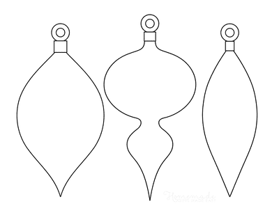 Christmas Ornaments Coloring Pages 3 Blank Tear Drop Templates P2