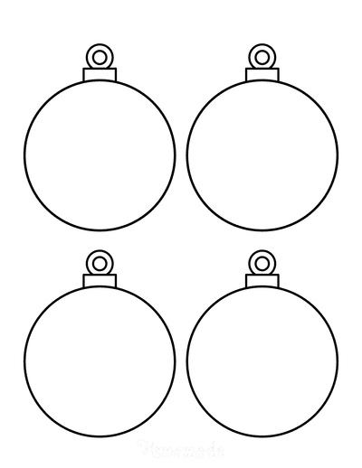 Christmas Ornaments Coloring Pages 4 Blank Round Bauble Templates
