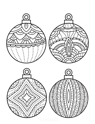 Christmas Ornaments Coloring Pages 4 Decorative Bauble Templates to Color