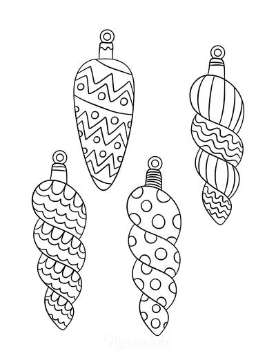 Christmas Ornaments Coloring Pages 4 Drop Ornament Templates to Color P1