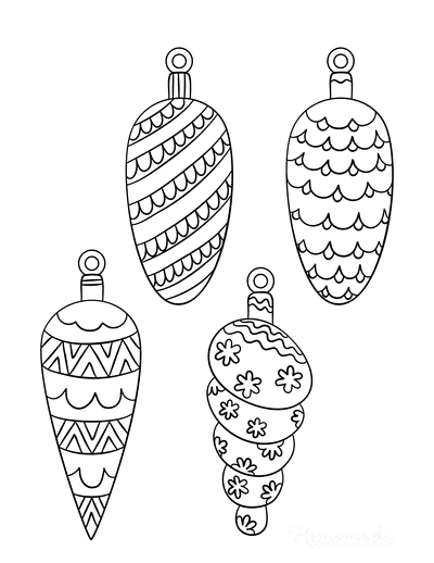 Christmas Ornaments Coloring Pages 4 Drop Ornament Templates to Color P2