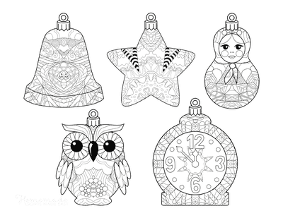 Christmas Ornaments Coloring Pages 5 Decorative Ornaments Bell Star Owl Clock Doll