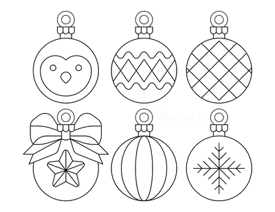 Christmas Ornaments Coloring Pages 6 Bauble Templates to Color P1