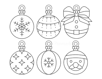 Christmas Ornaments Coloring Pages 6 Bauble Templates to Color P2