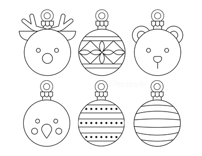 Christmas Ornaments Coloring Pages 6 Bauble Templates to Color P3