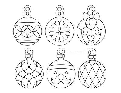 Christmas Ornaments Coloring Pages 6 Bauble Templates to Color P4