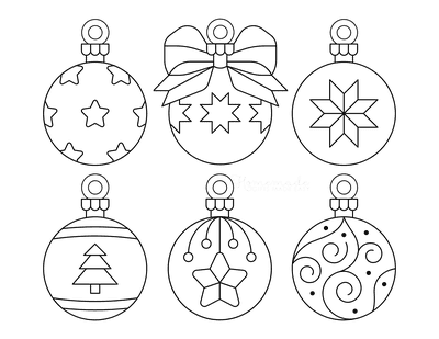 Christmas Ornaments Coloring Pages 6 Bauble Templates to Color P5