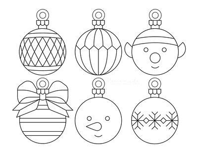 Christmas Ornaments Coloring Pages 6 Bauble Templates to Color P6