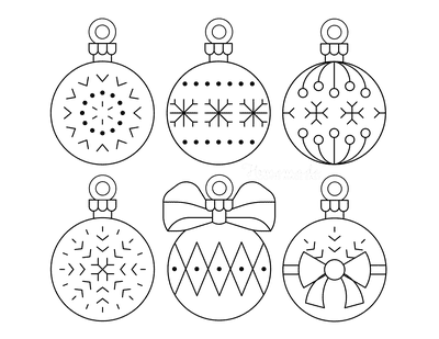 Christmas Ornaments Coloring Pages 6 Bauble Templates to Color P7