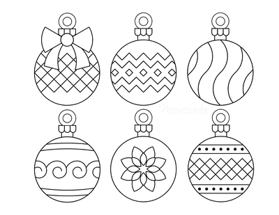 Christmas Ornaments Coloring Pages 6 Bauble Templates to Color P8