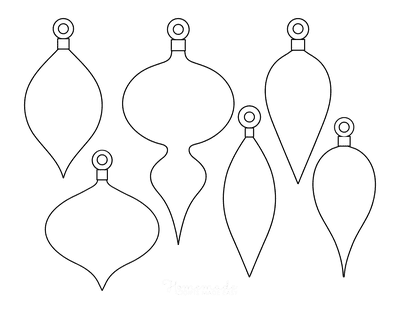Christmas Ornaments Coloring Pages 6 Blank Tear Drop Ornament Templates