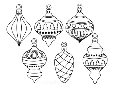 Christmas Ornaments Coloring Pages 6 Drop Ornament Templates to Color P1