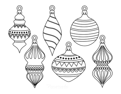 Christmas Ornaments Coloring Pages 6 Drop Ornament Templates to Color P2