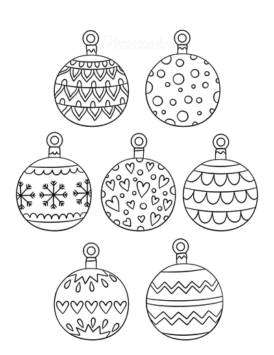 Christmas Ornaments Coloring Pages 7 Patterned Bauble Templates