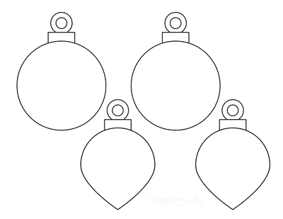 Christmas Ornaments Coloring Pages Blank Round Drop Templates