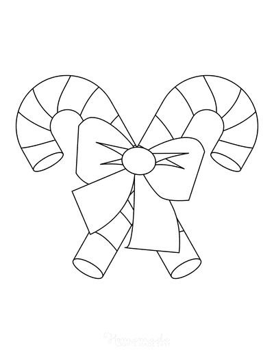 Christmas Ornaments Coloring Pages Candy Canes With Bow