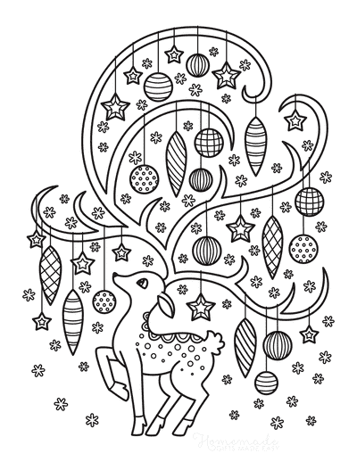 Christmas Ornaments Coloring Pages Deer With Baubles