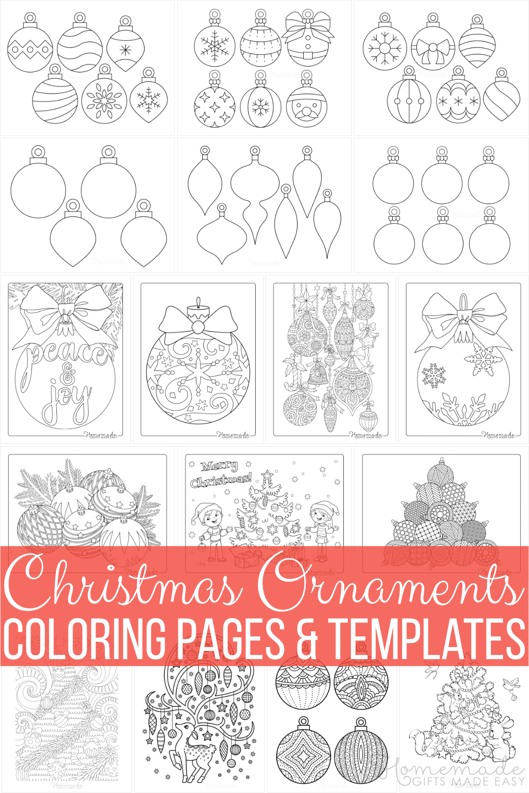 Printable Christmas Ornaments Coloring Pages and Templates