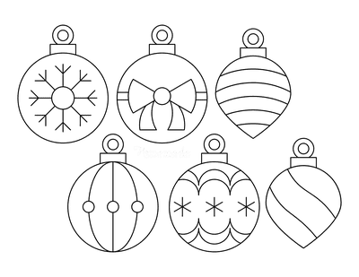 Christmas Ornaments Coloring Pages Simple Patterned Templates Set of 6 P1