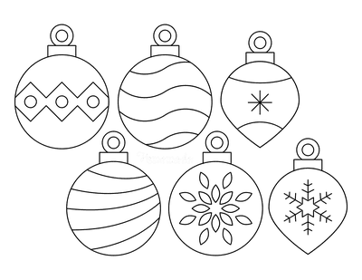 Christmas Ornaments Coloring Pages Simple Patterned Templates Set of 6 P2