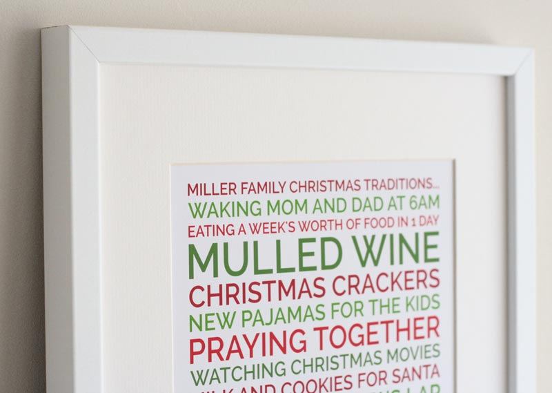 Create a personalized Christmas traditions poster