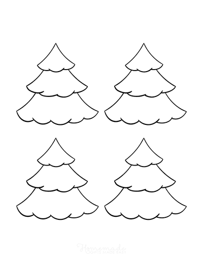 Christmas Tree Coloring Page Blank Tree to Color Small