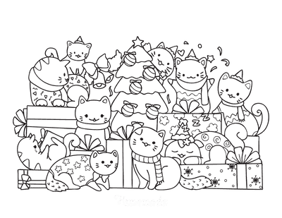 Christmas Tree Coloring Page Cute Cats Tree With Gifts