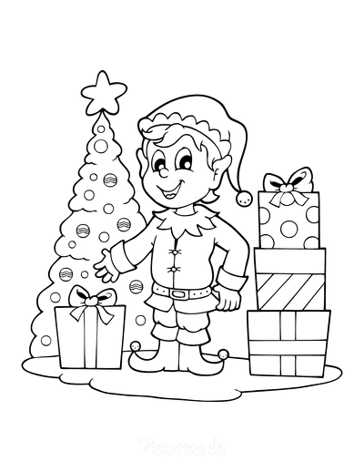 Christmas Tree Coloring Page Cute Elf Delivering Presents