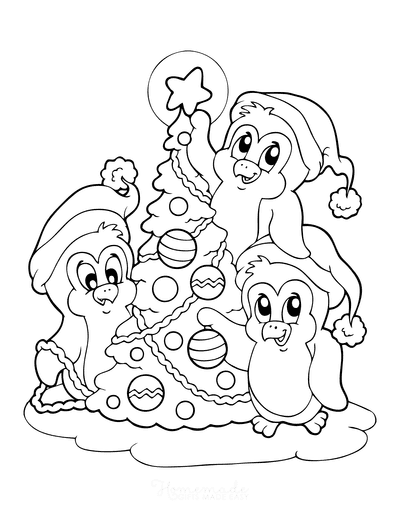 Christmas Tree Coloring Page Cute Penguins Decorating Tree