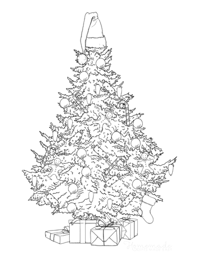 Christmas Tree Coloring Page Decorated Santa Hat Gifts