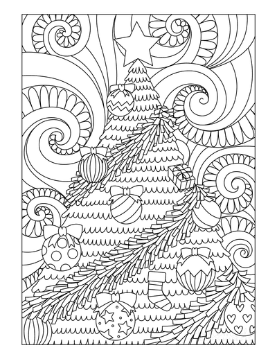 Christmas Tree Coloring Page Decorated Tree Swirly Background for Adults