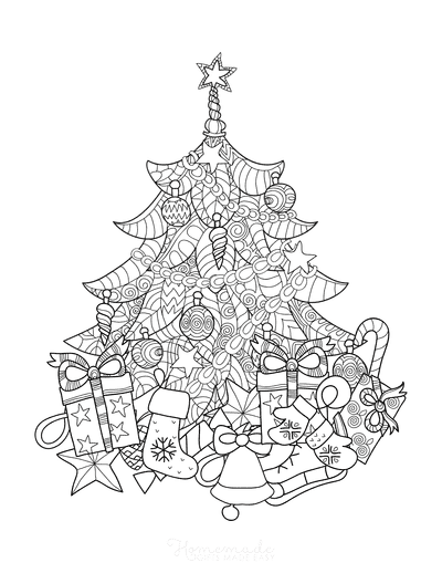 Christmas Tree Coloring Page Decorated Tree With Gifts