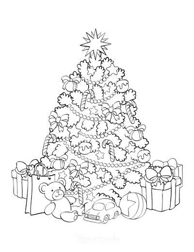 Christmas Tree Coloring Page Decorated Tree With Presents