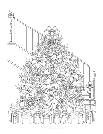 Christmas Tree Coloring Page Extravagant Christmas Tree Bottom of Staircase