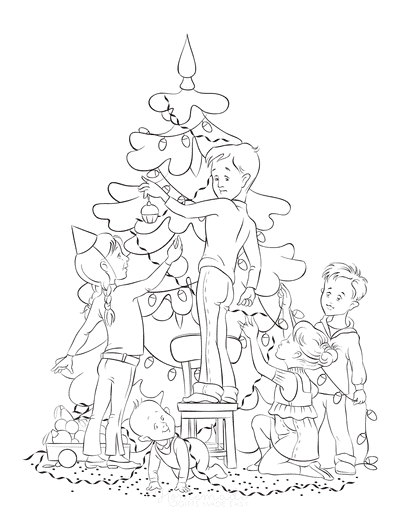 Christmas Tree Coloring Page Family Decorating Tree