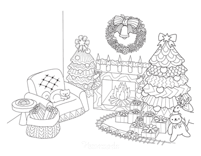Christmas Tree Coloring Page Fireside Decorated Tree Train Set Presents