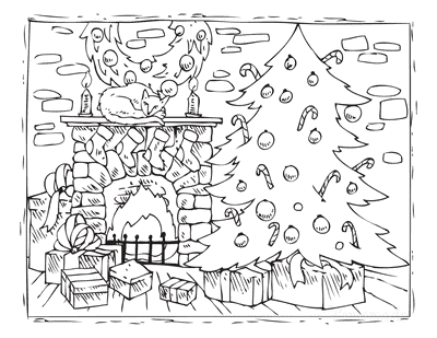 Christmas Tree Coloring Page Fireside Drawing