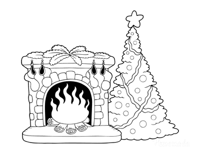 Christmas Tree Coloring Page Fireside Hearth Stockings Decorated Tree