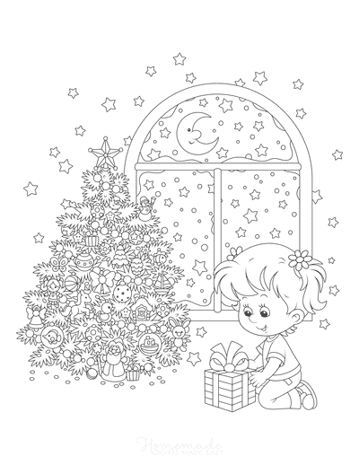 Christmas Tree Coloring Page Girl Opening Present Decorated Tree