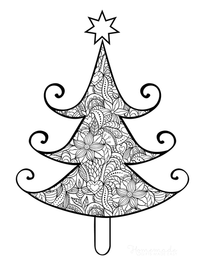 Christmas Tree Coloring Page Intricate Patterned for Adults