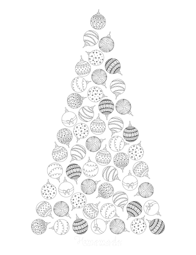Christmas Tree Coloring Page Made of Baubles