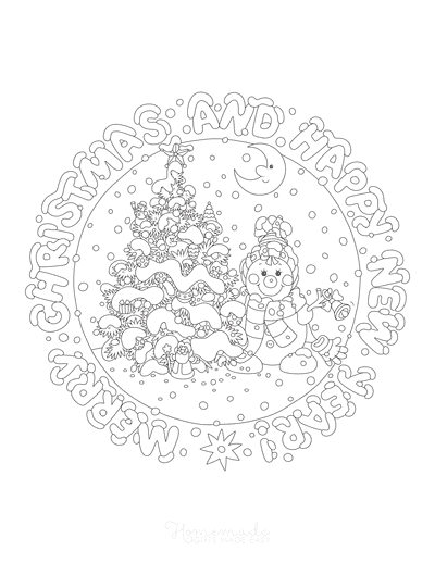 Christmas Tree Coloring Page Merry Christmas Happy New Year Cute Snowman Tree