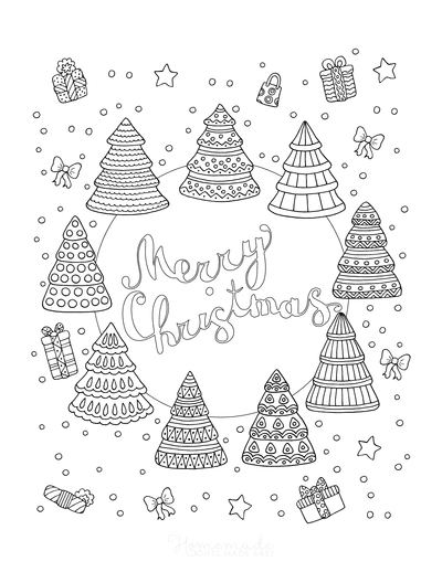 Christmas Tree Coloring Page Merry Christmas Trees Snowing