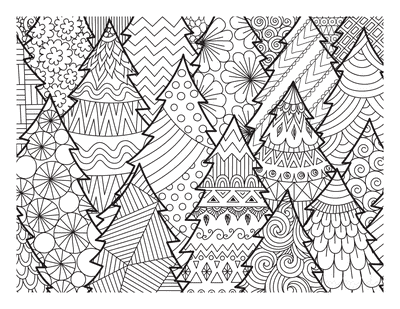 Christmas Tree Coloring Page Montage for Adults