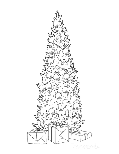 Christmas Tree Coloring Page Narrow Decorated With Gifts