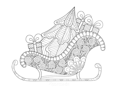 Christmas Tree Coloring Page Patterned Sled With Tree for Adults