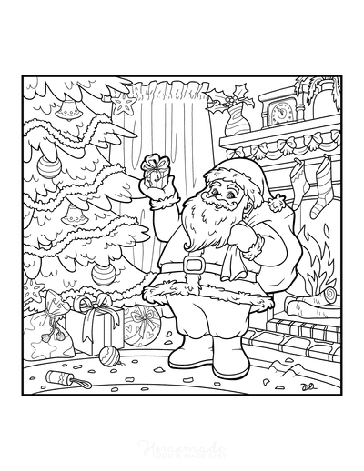 Christmas Tree Coloring Page Santa Delivering Gifts Fireside