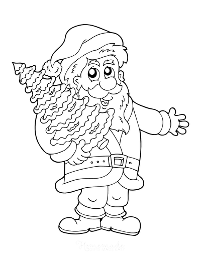 Christmas Tree Coloring Page Santa Holding Tree