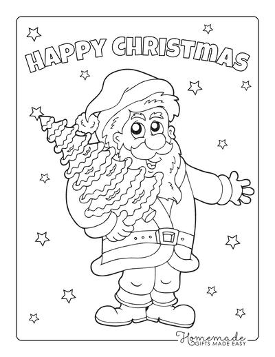 Christmas Tree Coloring Page Santa Holding Tree